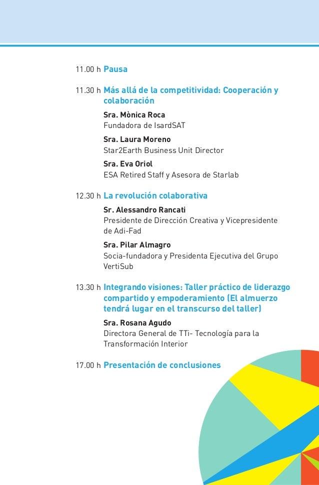 11.00 hPausa 11.30 hMás allá de la competitividad: Cooperación y colaboración  Sra. Mònica Roca  Fundadora de IsardSAT...
