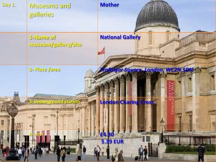 Day 3.   Museums and           Son.         galleries         1-Name of             Old Vic         museum/gallery/site   ...