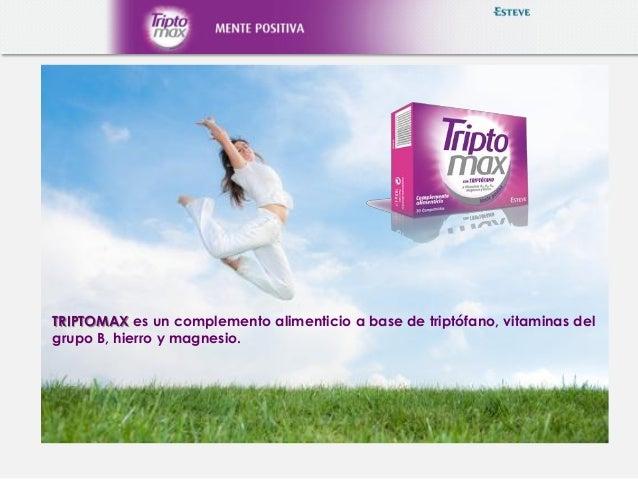 TRIPTOMAX es un complemento alimenticio a base de triptófano, vitaminas del grupo B, hierro y magnesio.