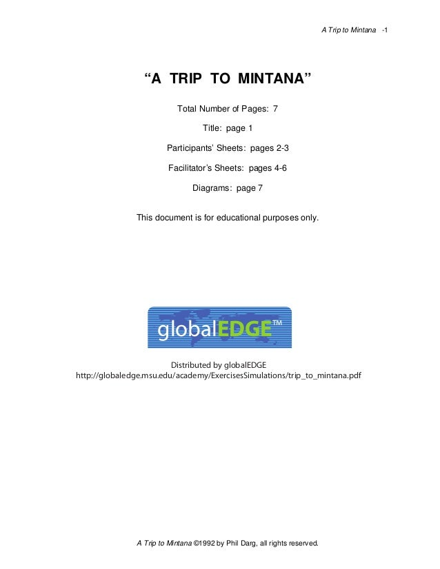 """A Trip to Mintana -1  """"A TRIP TO MINTANA"""" Total Number of Pages: 7 Title: page 1 Participants' Sheets: pages 2-3 Facilitat..."""