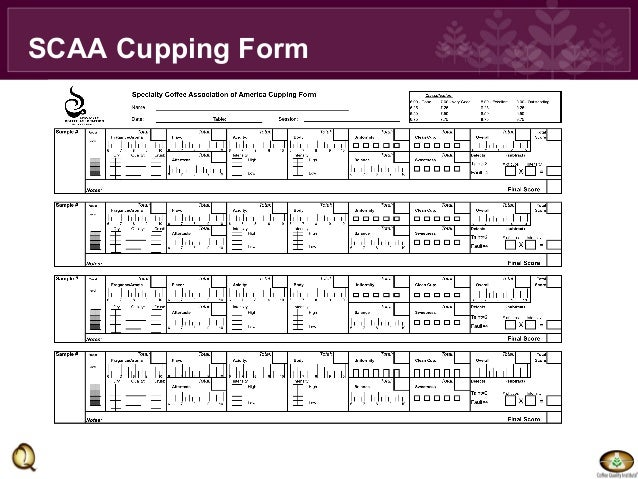 Trish Rothgelb: Q/SCAA Cupping form and Calibration nrf2013