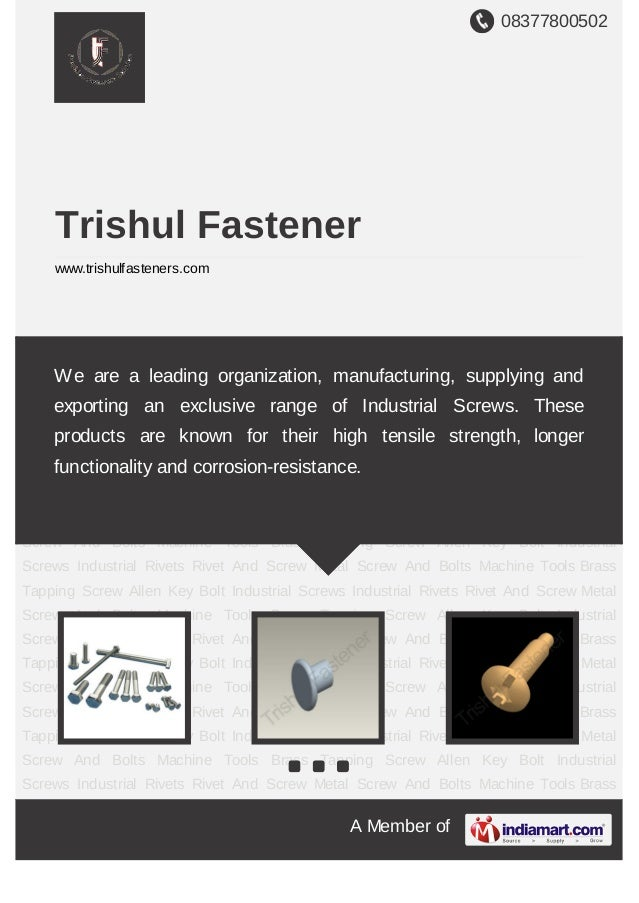 We are a leading organization, manufacturing, supplying and exporting anexclusive range of Industrial Screws. These produc...