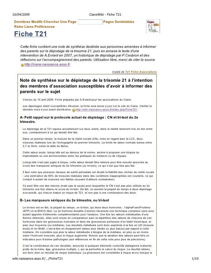 10/04/2009                                                  CianeWiki - Fiche T21   Dernières Modifs Chercher Une Page    ...