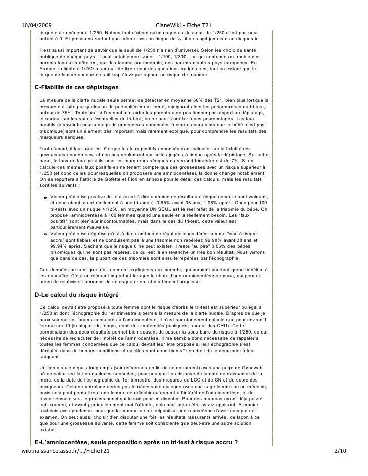 10/04/2009                                                 CianeWiki - Fiche T21       risque est supérieur à 1/250. Noton...