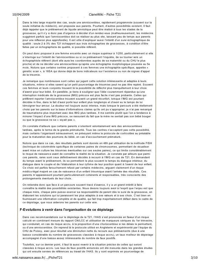 10/04/2009                                  CianeWiki - Fiche T21     E-L'amniocentèse, seule proposition après un tri-tes...