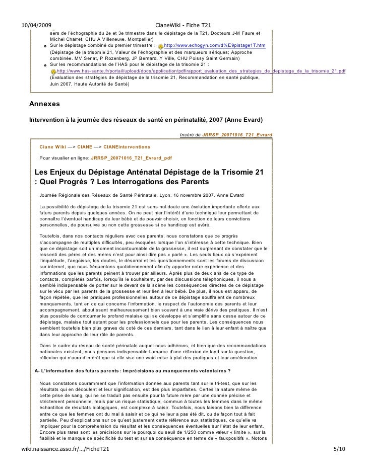 10/04/2009                                                 CianeWiki - Fiche T21           sers de l'échographie du 2e et ...