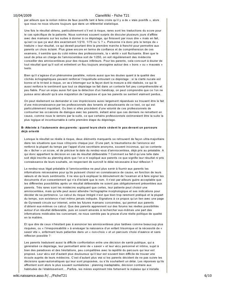 10/04/2009                                                    CianeWiki - Fiche T21       par ailleurs que la notion même ...
