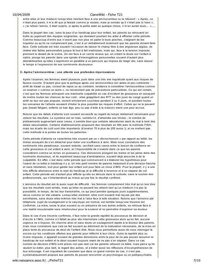 10/04/2009                                                   CianeWiki - Fiche T21       entre elles et leur médecin lorsq...