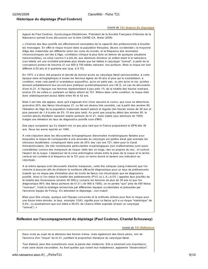 10/04/2009                                                  CianeWiki - Fiche T21   Historique du dépistage (Paul Cesbron)...