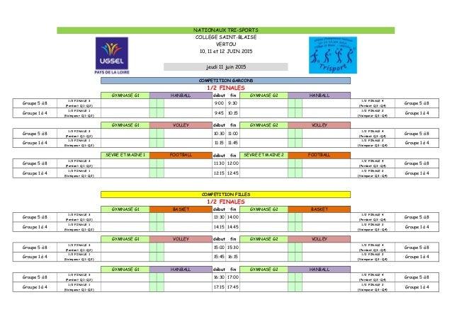 début fin Groupe 5 à 8 1/2 FINALE 3 (Perdant Q1-Q2) 9:00 9:30 1/2 FINALE 4 (Perdant Q3-Q4) Groupe 5 à 8 Groupe 1 à 4 1/2 F...