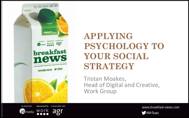 APPLYING PSYCHOLOGY TO YOUR SOCIAL STRATEGY Tristan Moakes, Head of Digital and Creative, Work Group