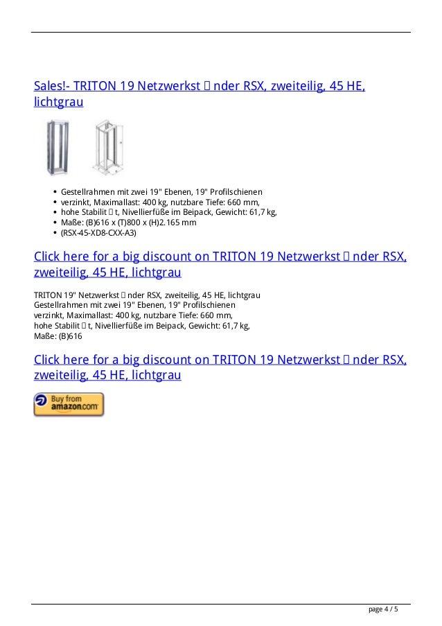 """Sales!- TRITON 19 Netzwerkständer RSX, zweiteilig, 45 HE, lichtgrau  Gestellrahmen mit zwei 19"""" Ebenen, 19"""" Profilschienen..."""
