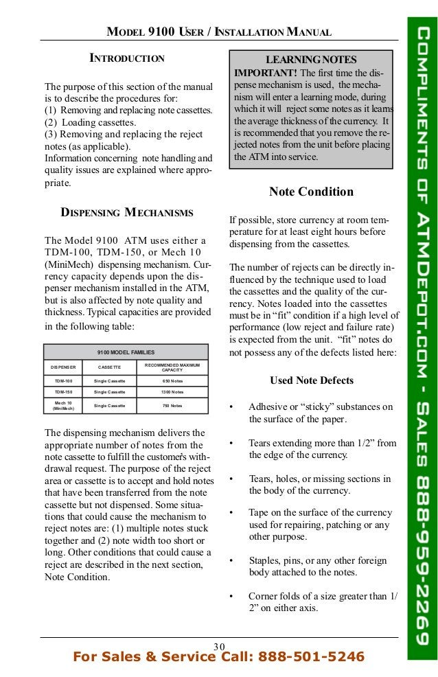 30 MODEL 9100 USER / INSTALLATION MANUAL INTRODUCTION The purpose of this section of the manual is to describe the procedu...