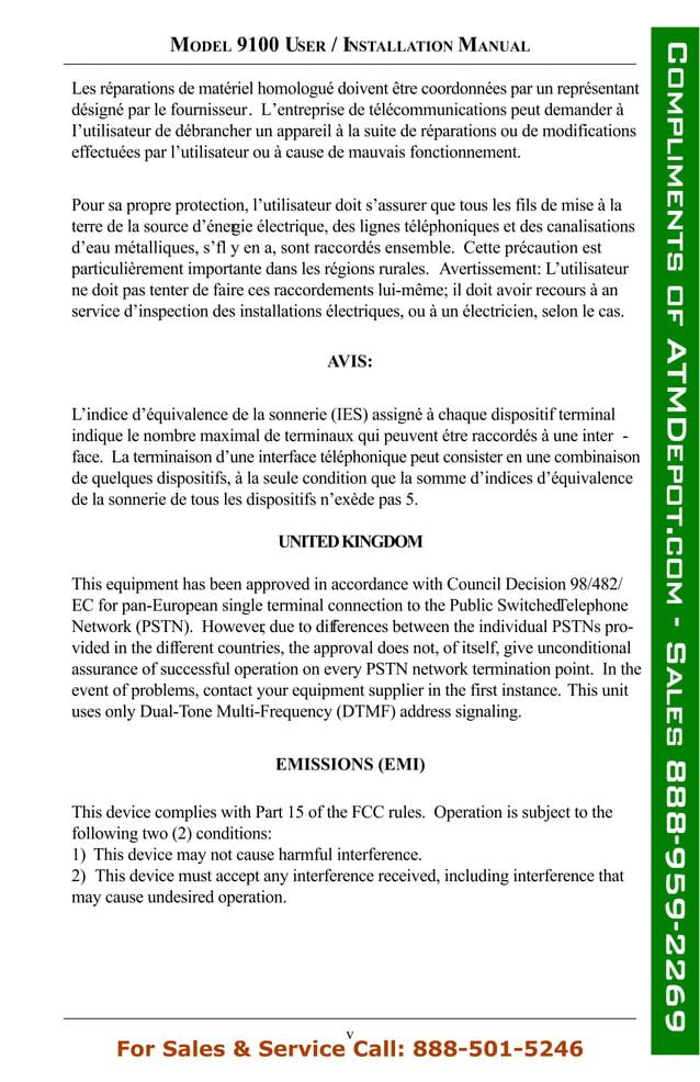 v MODEL 9100 USER / INSTALLATION MANUAL AVIS: L'indice d'équivalence de la sonnerie (IES) assigné à chaque dispositif term...