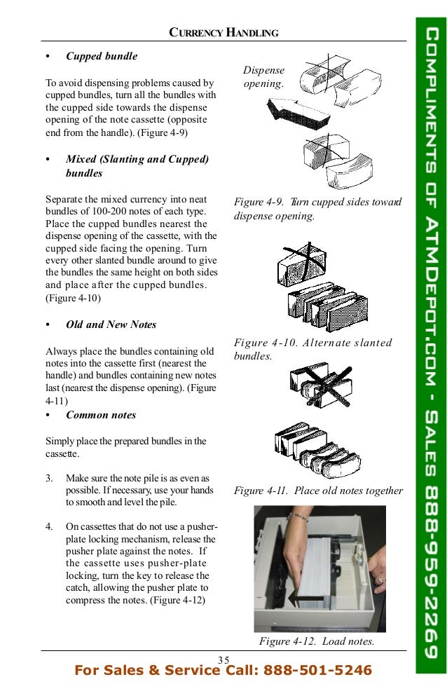 35 CURRENCY HANDLING • Cupped bundle To avoid dispensing problems caused by cupped bundles, turn all the bundles with the ...