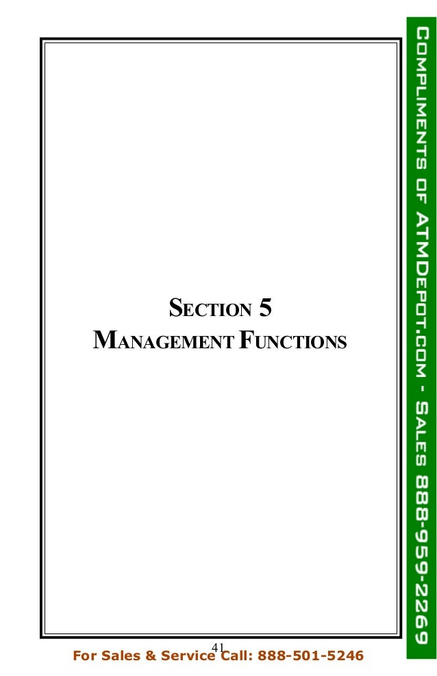 SECTION 5 MANAGEMENT FUNCTIONS 41 For Sales & Service Call: 888-501-5246