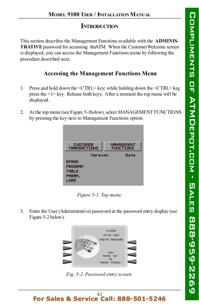 42 MODEL 9100 USER / INSTALLATION MANUAL INTRODUCTION This section describes the Management Functions available with the A...