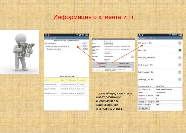 Торговый представитель имеет детальную информацию о задолженности и условиях оплаты. Информация о клиенте и тт