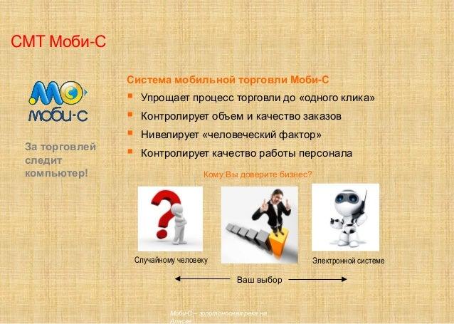 CMT Моби-С Система мобильной торговли Моби-С  Упрощает процесс торговли до «одного клика»  Контролирует объем и качество...