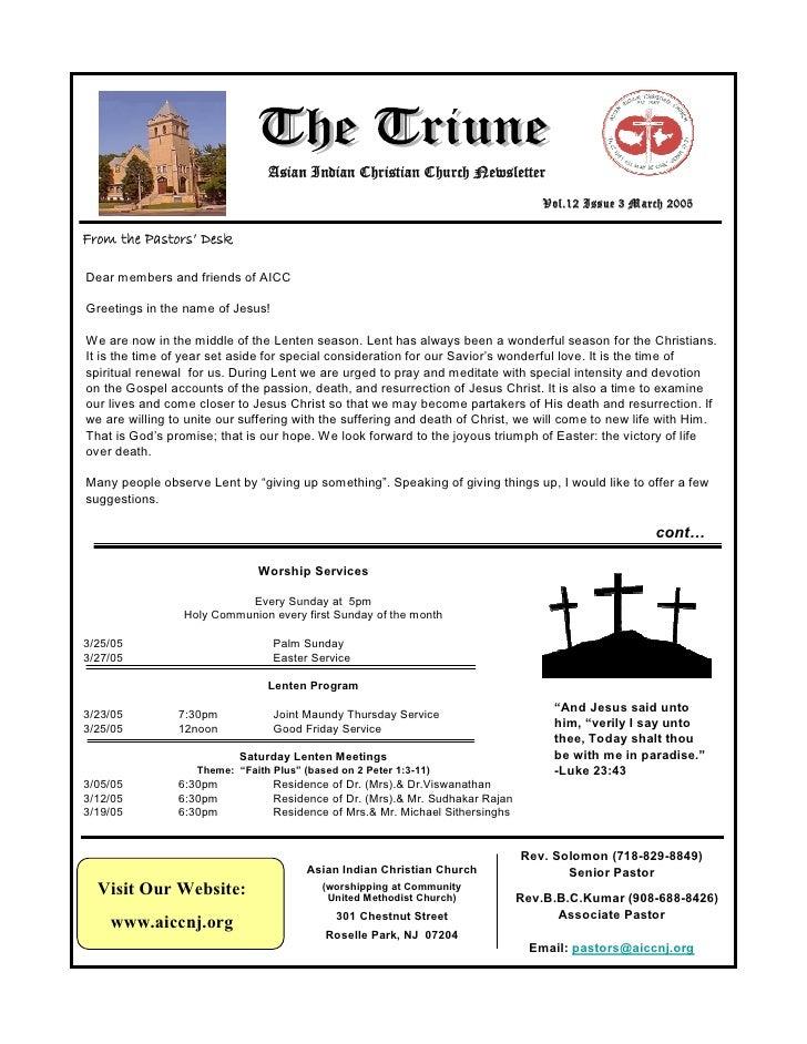 Asian Indian Christian Church Newsletter                                                                                  ...