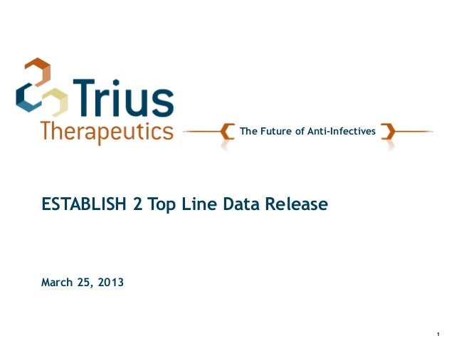 1The Future of Anti-InfectivesESTABLISH 2 Top Line Data ReleaseMarch 25, 2013