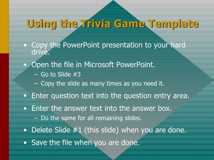 Using The Trivia Game Template U003culu003eu003cliu003eCopy The PowerPoint Presentation To  ...
