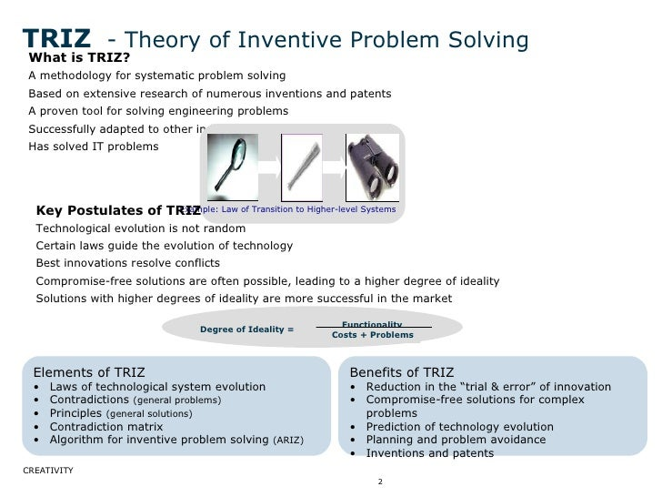 TRIZ   - Theory of Inventive Problem Solving <ul><li>What is TRIZ? </li></ul><ul><li>A methodology for systematic problem ...