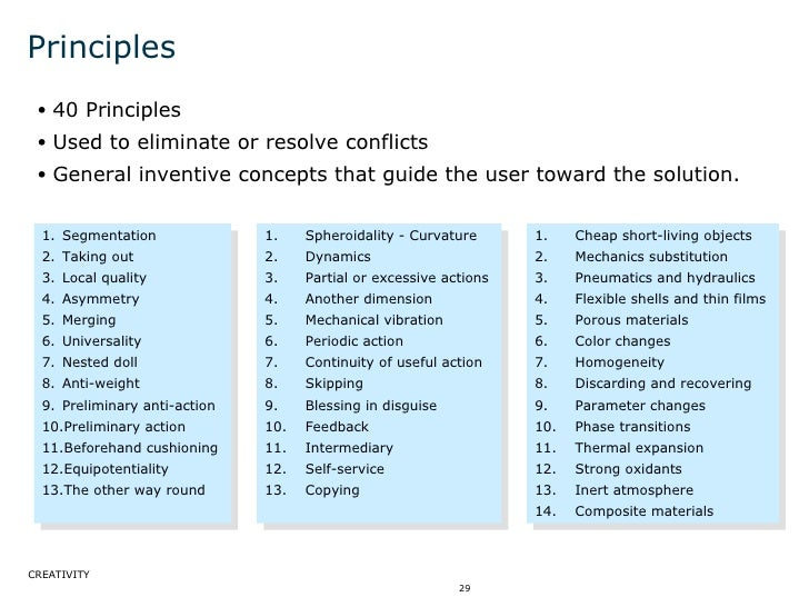 Principles <ul><ul><li>40 Principles </li></ul></ul><ul><ul><li>Used to eliminate or resolve conflicts </li></ul></ul><ul>...