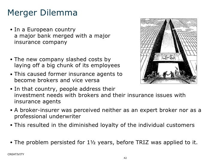 Merger Dilemma <ul><ul><li>In a European country  a major bank merged with a major  insurance company </li></ul></ul><ul><...