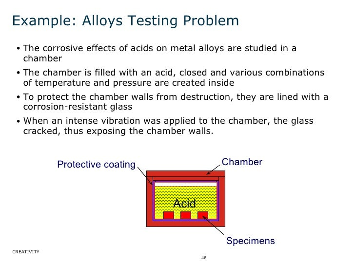 Example: Alloys Testing Problem <ul><ul><li>The corrosive effects of acids on metal alloys are studied in a chamber </li><...