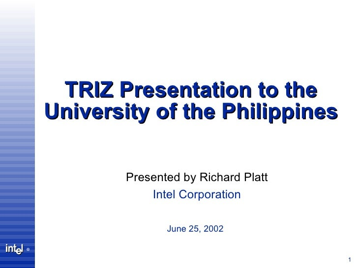 Short TRIZ Workshop for the University of the Philippines