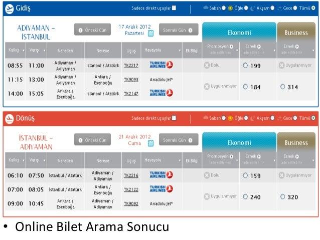 • Online Bilet Arama Sonucu