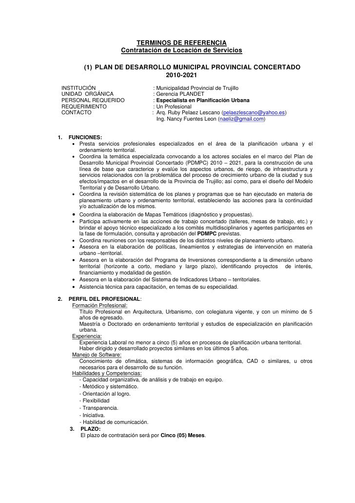 TERMINOS DE REFERENCIA                           Contratación de Locación de Servicios             (1) PLAN DE DESARROLLO ...