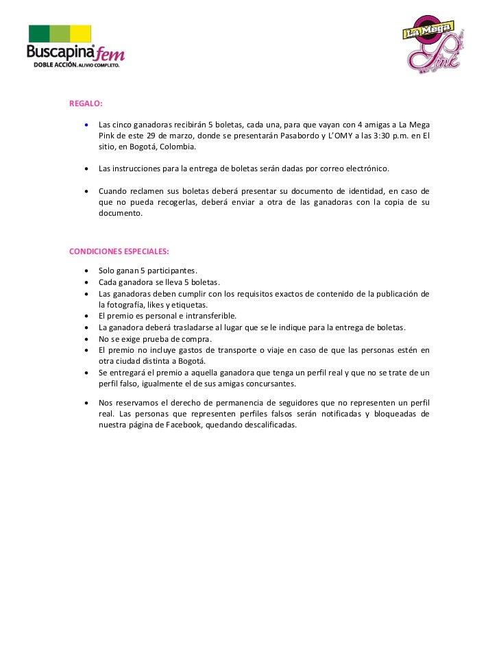 Términos y condiciones Segundo Concurso MegaPink Slide 2