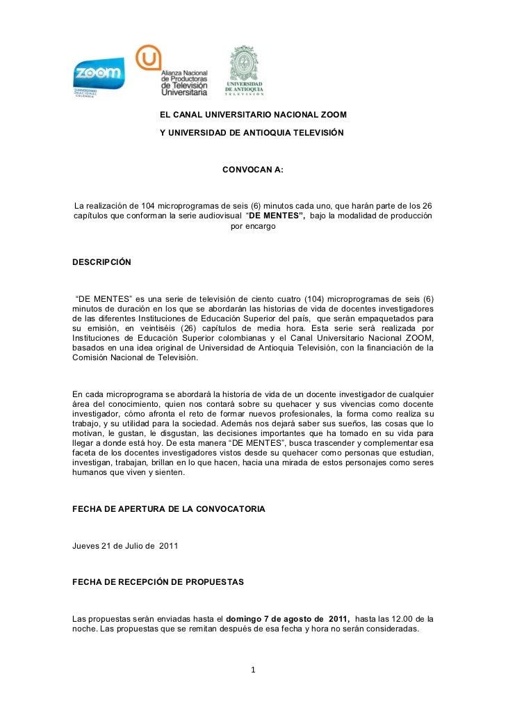 EL CANAL UNIVERSITARIO NACIONAL ZOOM                      Y UNIVERSIDAD DE ANTIOQUIA TELEVISIÓN                           ...