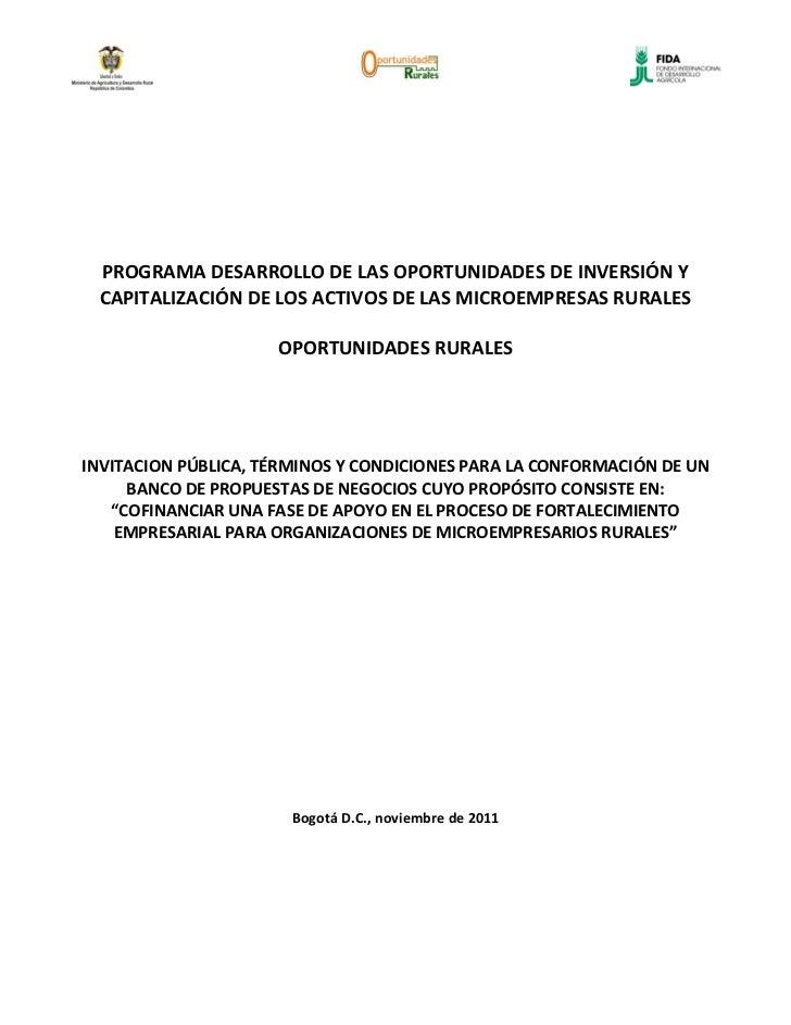 PROGRAMA DESARROLLO DE LAS OPORTUNIDADES DE INVERSIÓN Y CAPITALIZACIÓN DE LOS ACTIVOS DE LAS MICROEMPRESAS RURALES        ...