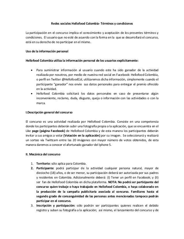Redes sociales Hellofood Colombia- Términos y condicionesLa participación en el concurso implica el conocimiento y aceptac...