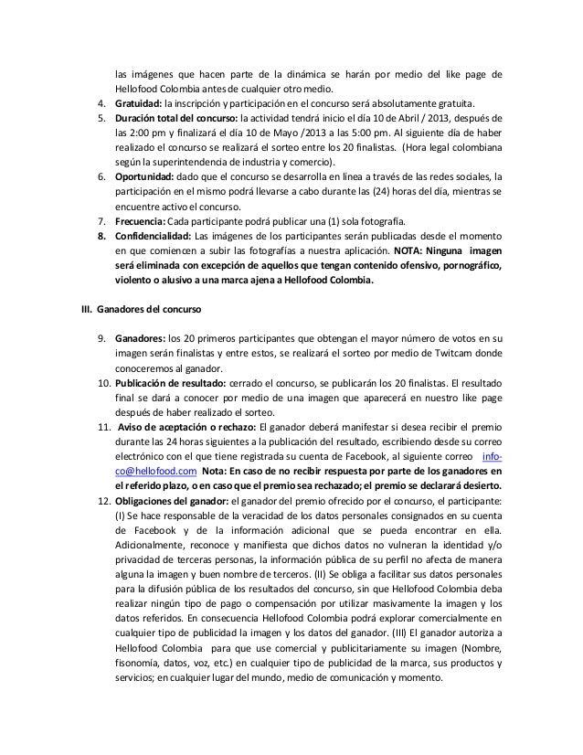 Términos y condiciones hellofood colombia Slide 2