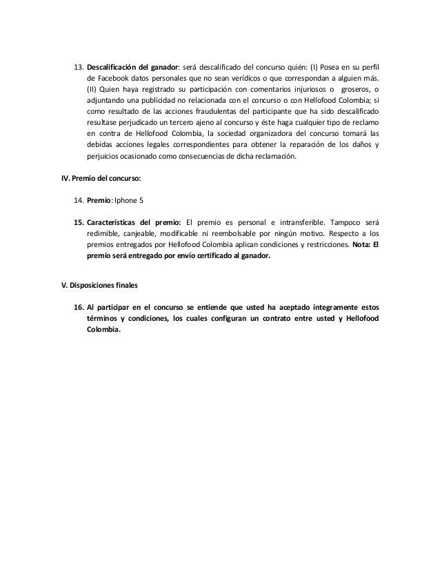 Términos y condiciones hellofood colombia Slide 3
