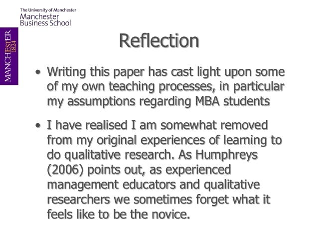 Reflective essay on qualitative research