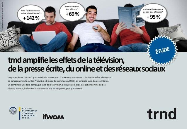 * Amplification de l'augmentation de la norotiété  trnd rend les médias online plus efficaces* :  + 142 %  trnd rend la TV...