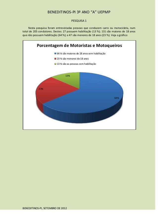 """BENEDITINOS-PI 3º ANO """"A"""" UEPMP                                        PESQUISA 1     Nesta pesquisa foram entrevistadas p..."""