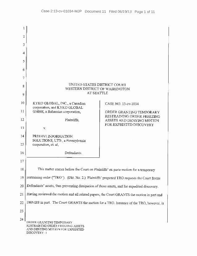 Order Granting Temporary Restraining Order Freezing Assets Against Pr…