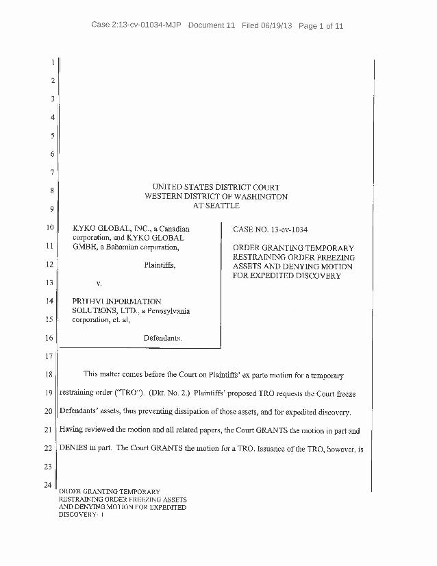 Order Granting Temporary Restraining Order Freezing Assets Against Pr ...