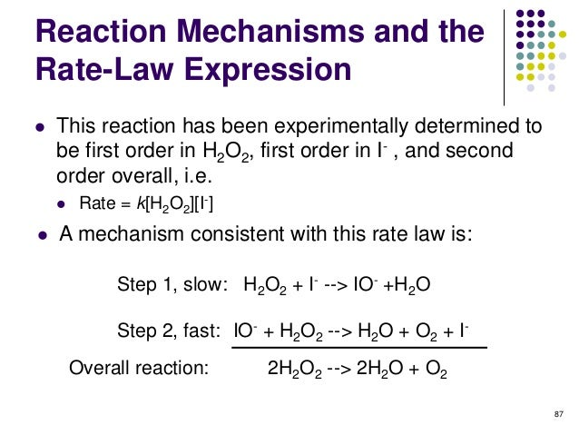 kinetics of hydrogen peroxide The quantitative catalytic decomposition of hydrogen peroxide has been used in many general chemistry experiments the typical procedure involves measuring the volume of oxygen generated in the reaction under constant pressure using a displacement method and calculating the necessary data.