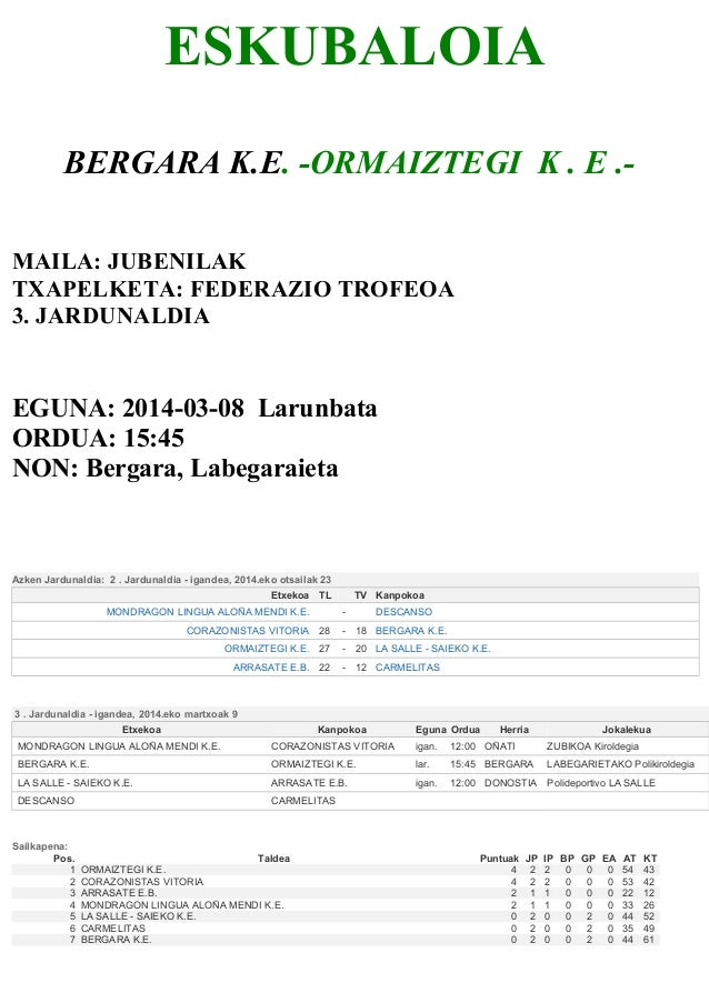 ESKUBALOIA BERGARA K.E. -ORMAIZTEGI K . E .MAILA: JUBENILAK TXAPELKETA: FEDERAZIO TROFEOA 3. JARDUNALDIA  EGUNA: 2014-03-0...