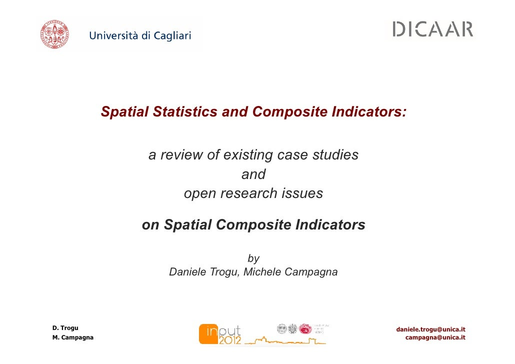 Spatial Statistics and Composite Indicators:                    a review of existing case studies                         ...