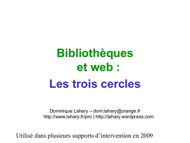 Utilisé dans plusieurs supports d'intervention en 2009 Bibliothèques et web : Les trois cercles Dominique Lahary – dom.lah...