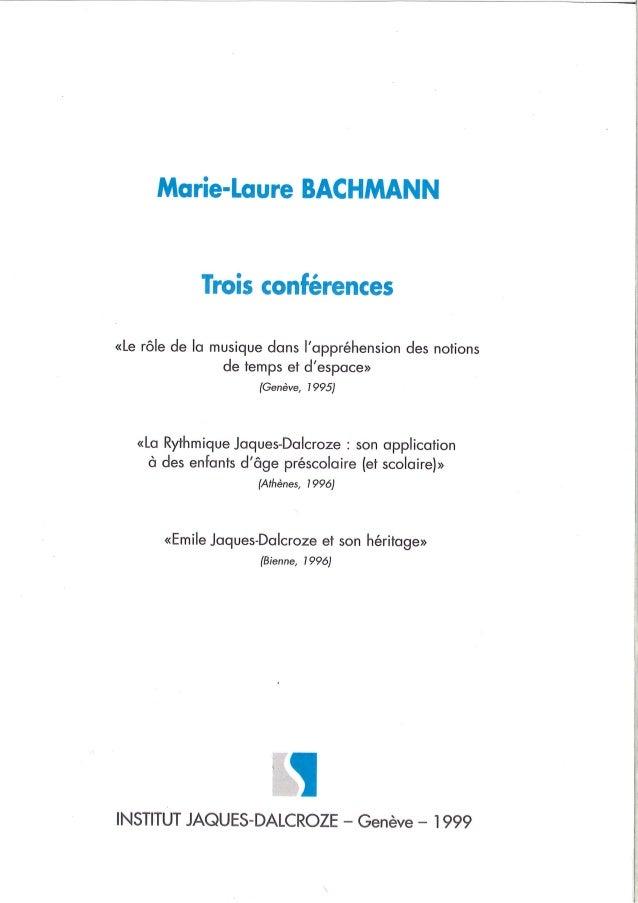 Trois conferences Dalcroze