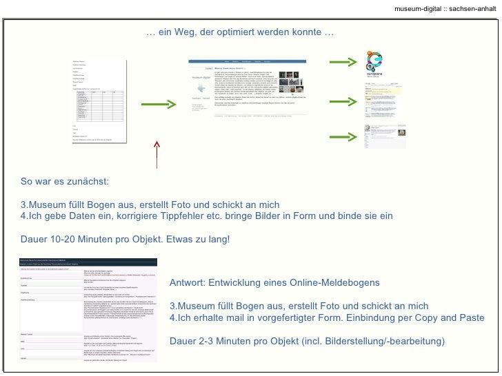 …  ein Weg, der optimiert werden konnte … <ul><li>Antwort: Entwicklung eines Online-Meldebogens </li></ul><ul><li>Museum f...